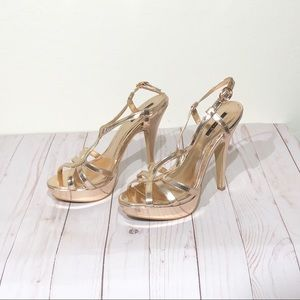 Forever 21 Heels 8 Shiny Copper Open Toe Strappy